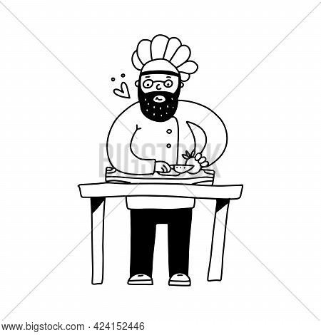 A Cute Kind Chef In A Cap Cutting Vegetables On A Cutting Board. Cook Male Character Vector Illustra