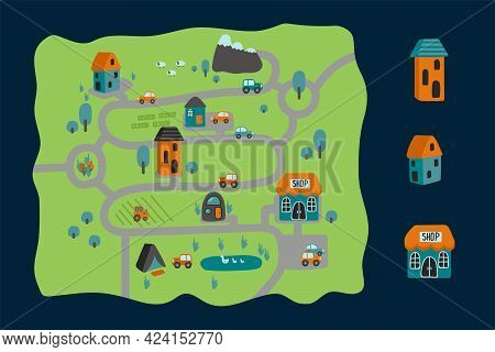 Cartoon City Map. Childrens Poster In The Childrens Room Or Carpet. Childrens Pattern Background Car