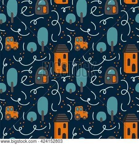 Background Childrens Map Of The City. Pattern For Childrens Textiles. Cartoon City On Dark Backgroun