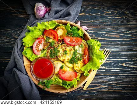 Fried Zucchini On Wooden Background Eating, Cuisine