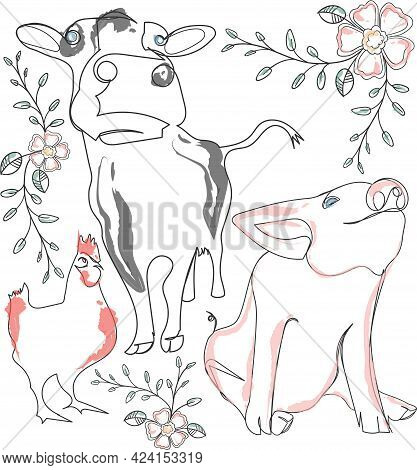 Illustrated Pig, Cow And Chicken With Flowers, Vines And Leaves