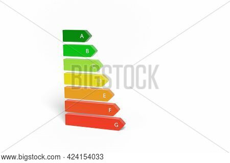 Three Dimensional Energy Efficiency Rating Isolated On White Background. 3d Illustration.