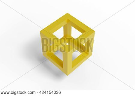 Impossible Cube Isolated On White Background. 3d Illustration.