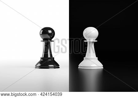 Facing Chess Pawns Isolated On Black And White Background. 3d Illustration.