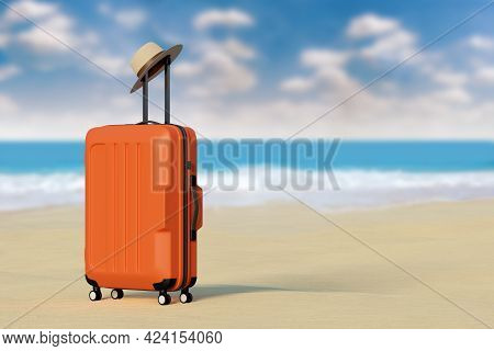 Suitcase With Hat On The Beach With The Sea In The Background With Copy Space. 3d Illustration.