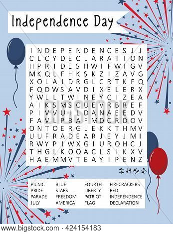 Independence Day (4th July) Word Search Puzzle For Learning English Words. Holiday Crossword. Logic