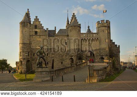 Antwerp, Belgium, 02 September 2017. Het Steen, Medieval Fortress In The Old City Centre Of Antwerp,
