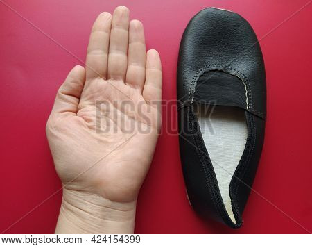 Ballerina Shoes Made Of Black Leather. Sports Shoes For Dancing And Gymnastics. Red Background. One