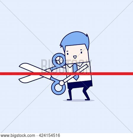 Businessman Cutting A Red Ribbon With Scissors. Cartoon Character Thin Line Style Vector.