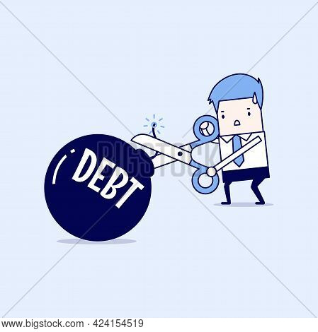 Cutting Debt Bomb, Businessman Hand Holding Scissors To Cut Debt. Cartoon Character Thin Line Style