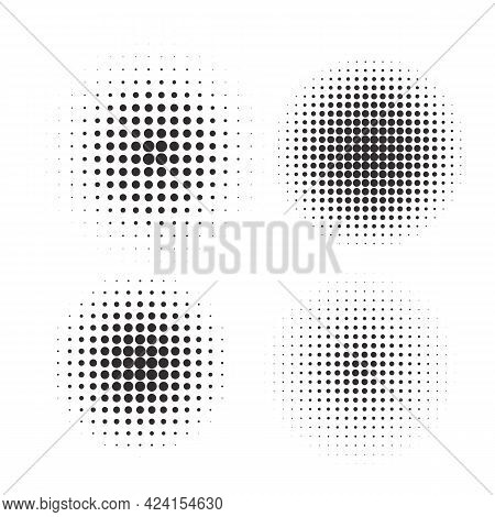 Halftone Circles, Halftone Dot Pattern Texture Set On White Background, Vector Format