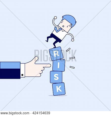 Businessman Standing On Shaky Risk Blocks By Hand Of Manager. Cartoon Character Thin Line Style Vect