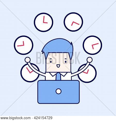 Businessman Working With Many Clocks. Cartoon Character Thin Line Style Vector.