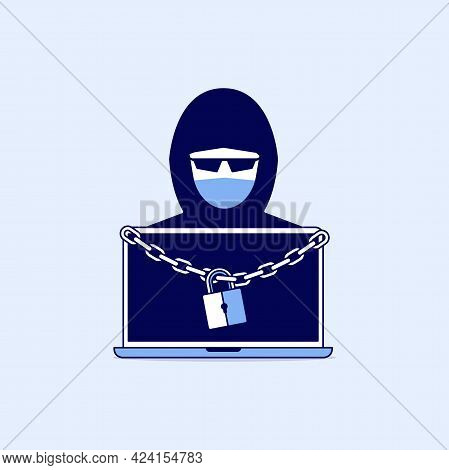 Hacker With Laptop Information Locked With Chain And Padlock. Ransomware Line Icon Design.