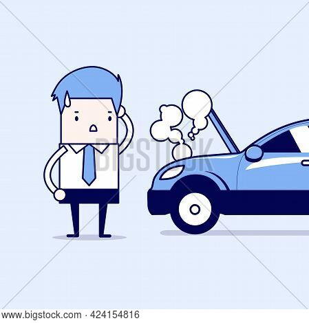 Businessman Have A Force Majeure, A Car Broke Down. Cartoon Character Thin Line Style Vector.