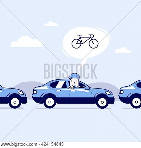 Businessman On The Road With Traffic Jam, Thought To Work By Bike Better. Cartoon Character Thin Lin