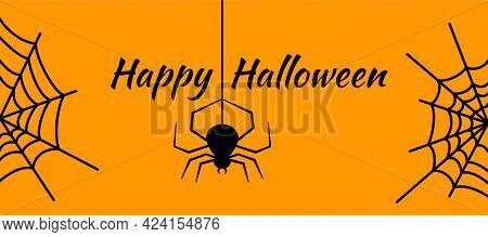 Cobwebs And A Hanging Black Spider With Orange Simple Background. Happy Halloween Greeting Card. Dec