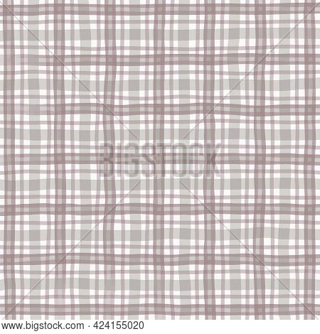 Gray Beige Brown Vintage Checkered Background. Space For Graphic Design. Checkered Texture. Classic