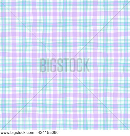 Pink Lilac Green Blue Vintage Checkered Background. Space For Graphic Design. Checkered Texture. Cla