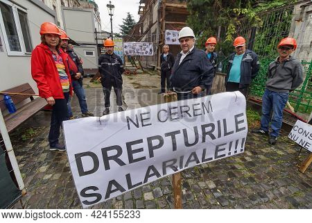 Bucharest, Romania - June 18, 2021: Municipal Consolidation Company Employees Protests Because They