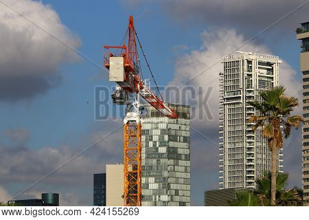 Modern Tall Houses In The White City Of Tel Aviv In Israel. Architectural Details Of Construction In