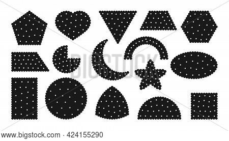 Black Silhouette Snack Cracker Icons Set. Collection Tasty Food Cookies Different Shapes Top View Ci