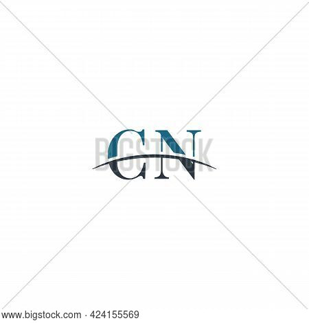 Initial Letter Cn, Overlapping Movement Swoosh Horizon Logo Company Design Inspiration In Blue And G