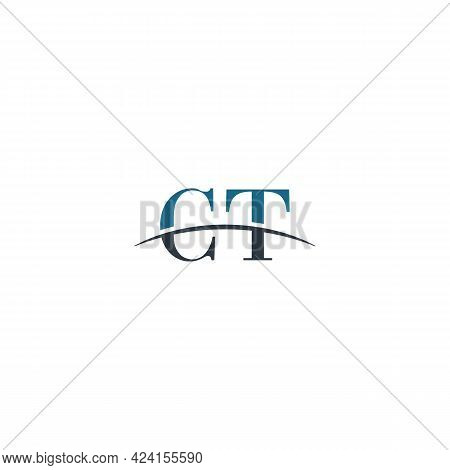 Initial Letter Ct, Overlapping Movement Swoosh Horizon Logo Company Design Inspiration In Blue And G
