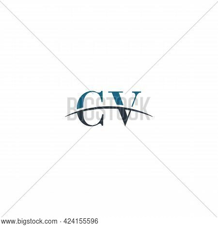 Initial Letter Cv, Overlapping Movement Swoosh Horizon Logo Company Design Inspiration In Blue And G