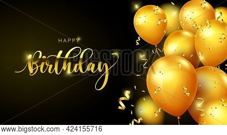 Birthday Balloons Vector Banner Template. Happy Birthday Greeting Text With Elegant Gold Balloons An
