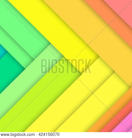 Green, Yellow And Pink Paper Sheets Arranged In Random Order. Abstract Background. Minimalistic Desi