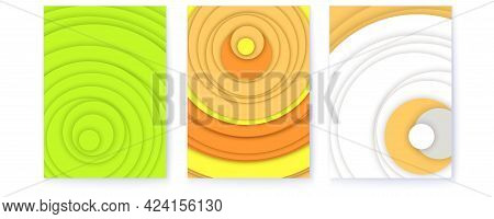 Set Of Covers With Radial Shapes. Abstract Geometric Pattern With Randomly Arranged Circles. Minimal