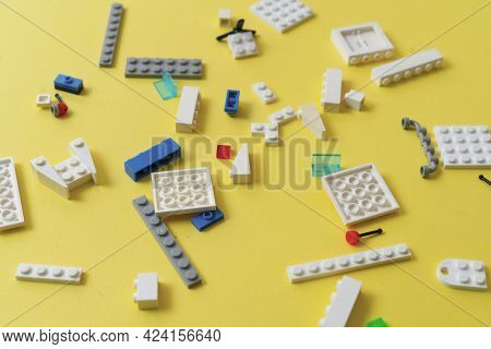 A Flat Lay Toy Bricks And Blocks Of Constructor, Learning And Development