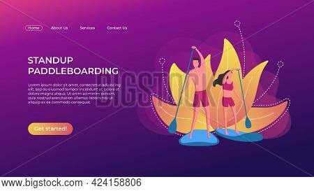 Stand Up Paddle Boarding Landing Page Template. Vector Sup Boarding Design Concept. A Man And A Woma