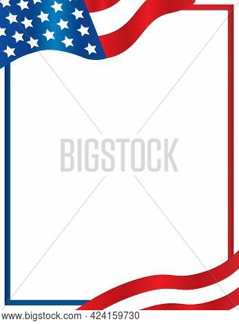 American Flag Overlaying Border Template Background Red White And Blue