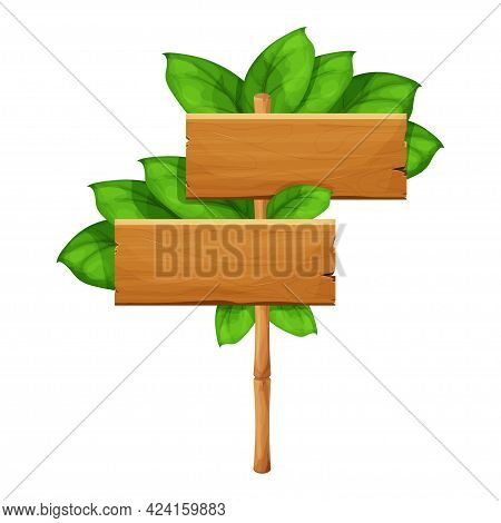 Wooden Sign With Green Bamboo Sticks Decorated With Tropical Leaves, Empty Frame In Cartoon Style Is