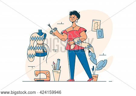 Young Woman Creating Fashion Clothes Vector Illustration. Fashion Designer Work With Scissors Cut Bl