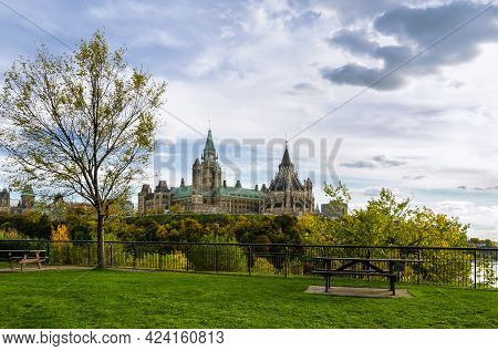 Autumn View Of The Parliament Hill In Ottawa, Canada. View From Tavern On The Hill