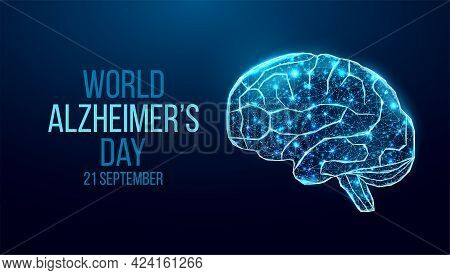 Human Brain Wireframe. World World Alzheimer's Day Concept. Banner Template With Glowing Low Poly Br