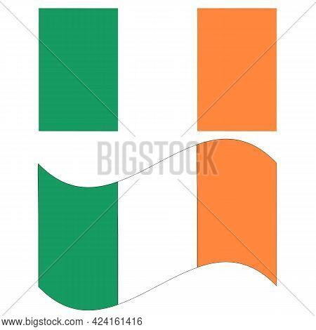 Flag Of Ireland On White Background. Republic Of Ireland Flag.