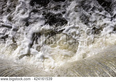 Rideau Canal Locks In Ottawa, Canada. Close Up Of Flowing Water. Top View