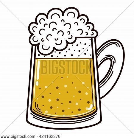 Beer In A Mug. Vector Icon. Isolated Illustration On White. Wheat Drink With Foam. Alcohol In A Glas