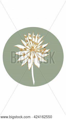 Elegant Sage Green Highlight, Social Media Story Icon, Gold White Flower, Summer Story Design
