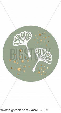 Sage Green Circle, Gold Dots Social Media Icon, Cute Story Highlight, Elegant Story Template