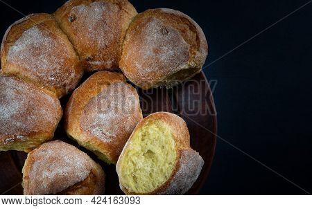 Cornbread On A Ceramic Clay Plate. Art Bread.