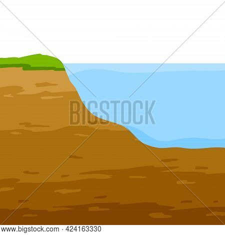 Water Shore. Land In Cross Section. Coast Of Pond And Bottom Of Lake. Ecology And Geology. Flat Cart