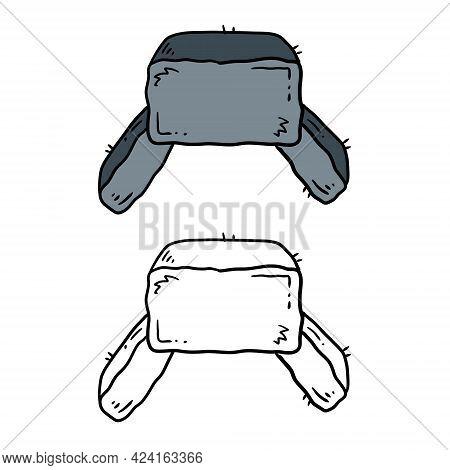 Ushanka Hat. Fur Russian Cap. Grey Headdress. Cartoon Illustration Isolated On White