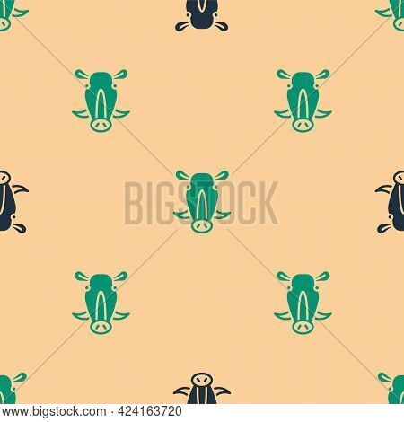 Green And Black Wild Boar Head Icon Isolated Seamless Pattern On Beige Background. Animal Symbol. Ve