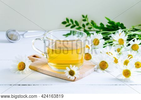 Close-up Of Chamomile Tea. Alternative And Traditional Medicine. Herbal Treatment. Selective Focus.