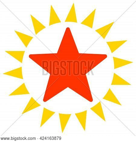 Star Shine Icon With Flat Style. Isolated Raster Star Shine Icon Image, Simple Style.